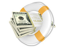 Life buoy with dolla. Royalty Free Stock Photo