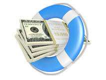 Life buoy with dollar. Stock Image