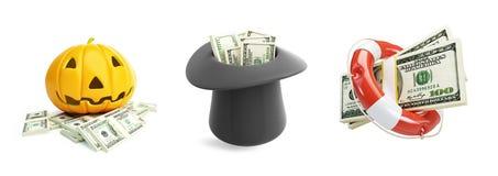 Life Buoy dollar, Money Halloween, hat dollar Royalty Free Stock Photo