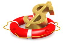 Life buoy with dollar sign. Image with white background Royalty Free Stock Photo