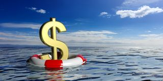 Life buoy and a dollar symbol on blue sea background. 3d illustration Stock Photography