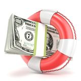 Life buoy with dollars banknote. 3D render. Illustration  on a white background Stock Image