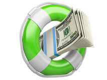 Life buoy with dollars. 3d illustration isolated on a white background Royalty Free Stock Images