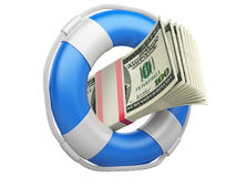 Life buoy with dollars. Stock Photography