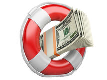 Life buoy with dollars. Stock Images