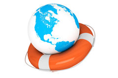 Life Buoy and Earth globe Stock Photography