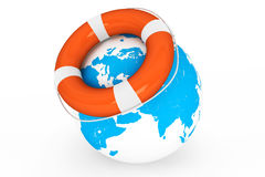 Life Buoy and Earth globe Royalty Free Stock Photo