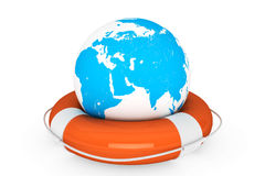Life Buoy and Earth globe. On a white background stock photos