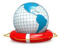 Life buoy and earth Royalty Free Stock Photo