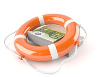 Life buoy with euro currency. Isolated on white background Royalty Free Stock Photo