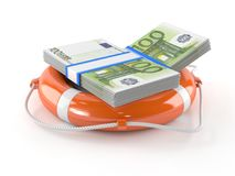 Life buoy with euro currency. On white background Stock Photo