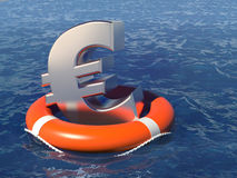 Life buoy with a euro symbol in the deep water. Royalty Free Stock Photography