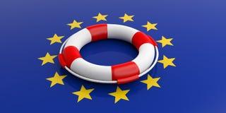 Life buoy on European Union flag. 3d illustration Stock Photo