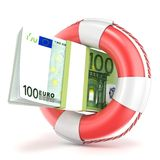 Life buoy with euros banknote. 3D render Royalty Free Stock Photos
