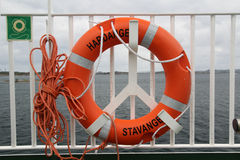 Life buoy in a ferry Stock Image