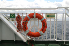 Life buoy in a ferry Royalty Free Stock Images