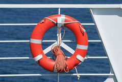 Life buoy on ferry crossing the mediterranean sea Stock Photos