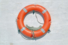 Life buoy on ferry crossing the mediterranean sea to Santorini Stock Image