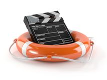 Life buoy with film slate. On white background Stock Photo
