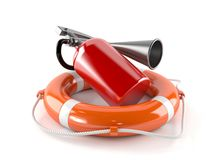 Life buoy with fire extinguisher. On white background Royalty Free Stock Image