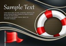Life buoy with flag on mash. Life buoy with rope & flag on mash background, vector illustration Stock Photography