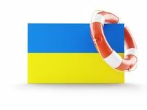 Life Buoy flags of Ukraine. On a white background Stock Photos
