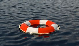 Safety equipment with lifebuoy. Life buoy  floating on sea to rescue people from drowning man. Safety equipment Royalty Free Stock Photography