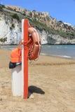 Life buoy. Gargano National Park in Italy - Pizzomunno Beach in Vieste. Life buoy equipment royalty free stock photography