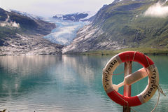 Life buoy and  the glacier Stock Images