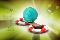 Life buoy with globe Stock Photography