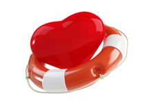 Life Buoy for the heart. On a white background Stock Photography