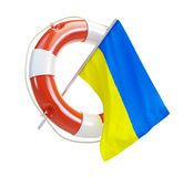Life buoy help flags of ukraine Stock Images