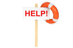 Life Buoy with help sign. Help Concept. Life Buoy with help sign on a white background Stock Image
