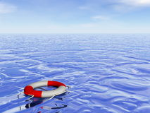 Life buoy hope - 3D render. Life buoy floating alone on the ocean by day - 3D render Stock Photo