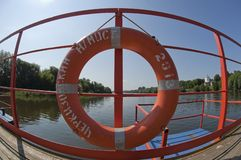 Life buoy at the jetty Stock Photo