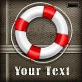 Life buoy on mash. Life buoy with rope on mash background, vector illustration Royalty Free Stock Image