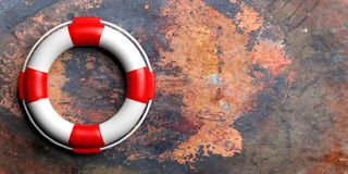 Life buoy on metal background. 3d illustration Stock Image
