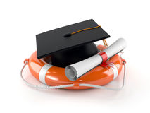 Life buoy with mortarboard. On white background Royalty Free Stock Image