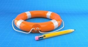 Life buoy with pencil lie on blueprint Stock Images