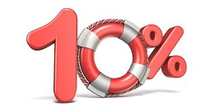 Life buoy 10 percent sign 3D. Render illustration isolated on white background vector illustration