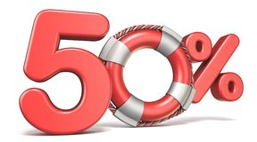 Life buoy 50 percent sign 3D. Render illustration isolated on white background Royalty Free Stock Image