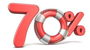 Life buoy 70 percent sign 3D. Render illustration isolated on white background Stock Photos
