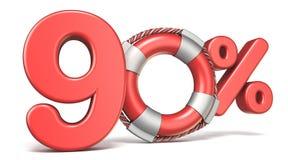 Life buoy 90 percent sign 3D. Render illustration isolated on white background Royalty Free Illustration