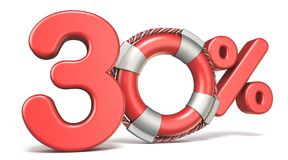Life buoy 30 percent sign 3D. Render illustration isolated on white background Stock Photo