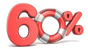 Life buoy 60 percent sign 3D. Render illustration isolated on white background Stock Images