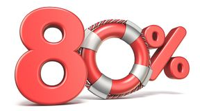 Life buoy 80 percent sign 3D. Render illustration isolated on white background Royalty Free Stock Photography
