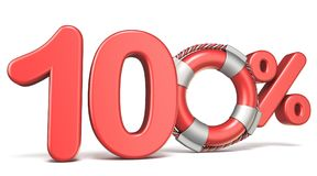 Life buoy 100 percent sign 3D. Render illustration isolated on white background Stock Image