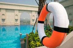 Life buoy and Pool on top of building with Saigon aerial view, V stock images