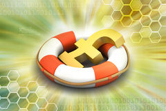 Life buoy with pound sign Royalty Free Stock Images