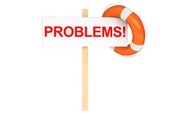 Life Buoy with problems sign Stock Images